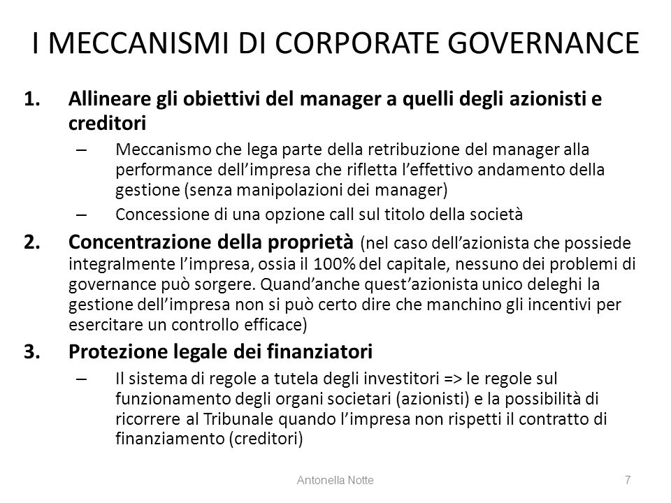 I MECCANISMI DI CORPORATE GOVERNANCE