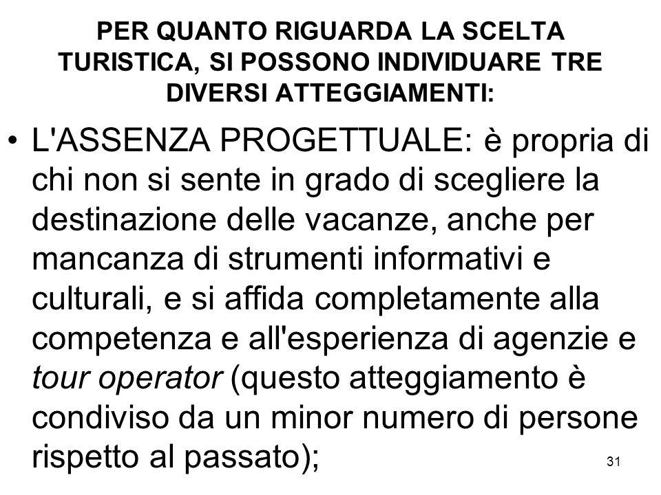 PER QUANTO RIGUARDA LA SCELTA TURISTICA, SI POSSONO INDIVIDUARE TRE DIVERSI ATTEGGIAMENTI: