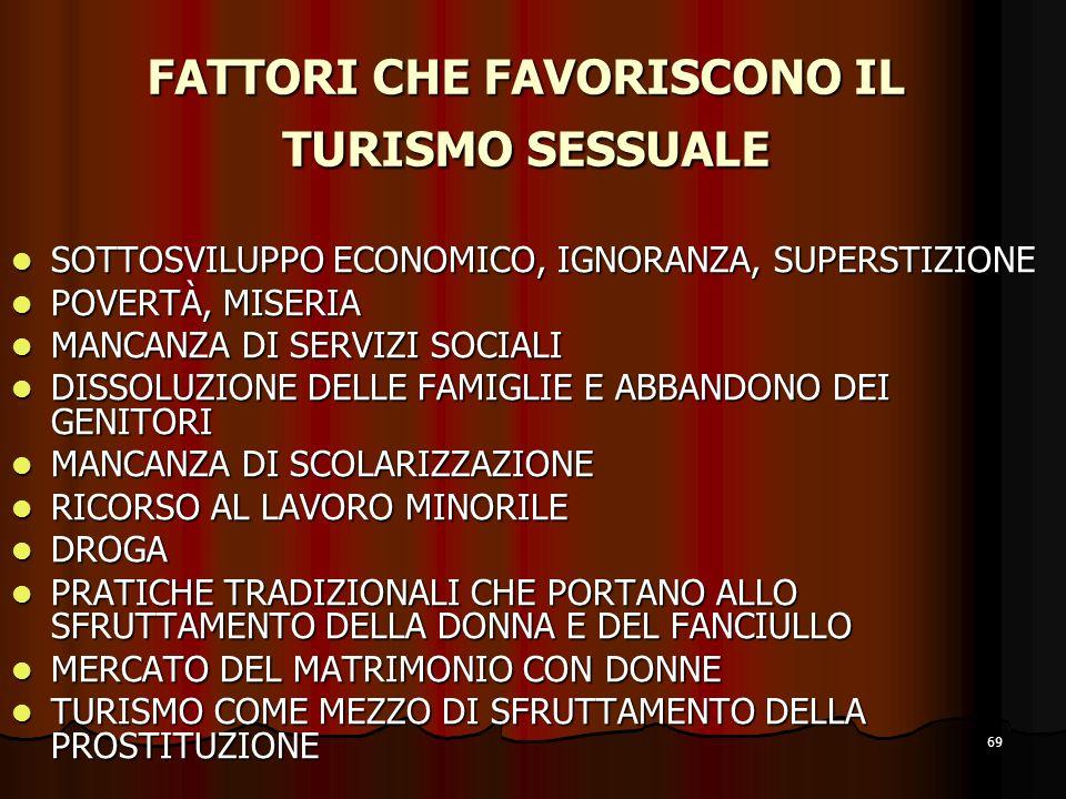 FATTORI CHE FAVORISCONO IL TURISMO SESSUALE