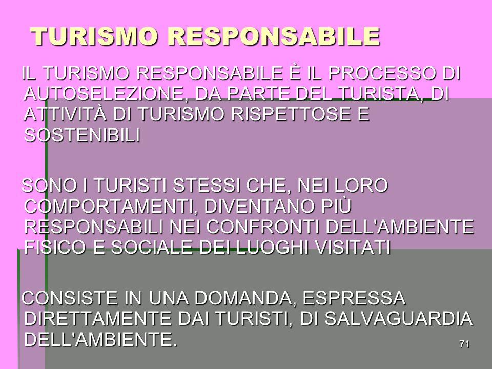TURISMO RESPONSABILE IL TURISMO RESPONSABILE È IL PROCESSO DI AUTOSELEZIONE, DA PARTE DEL TURISTA, DI ATTIVITÀ DI TURISMO RISPETTOSE E SOSTENIBILI.