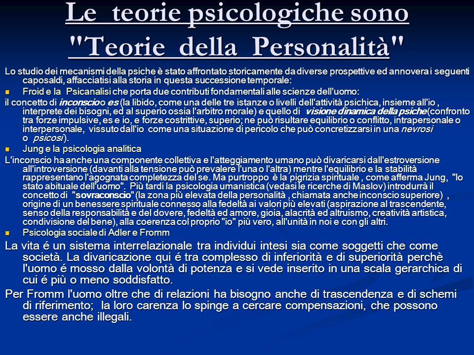 Le teorie psicologiche sono Teorie della Personalità