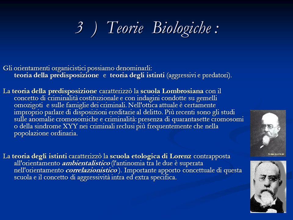 3 ) Teorie Biologiche :