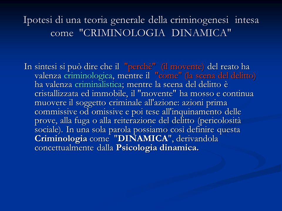 Ipotesi di una teoria generale della criminogenesi intesa come CRIMINOLOGIA DINAMICA