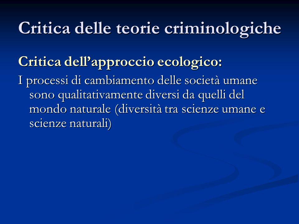 Critica delle teorie criminologiche