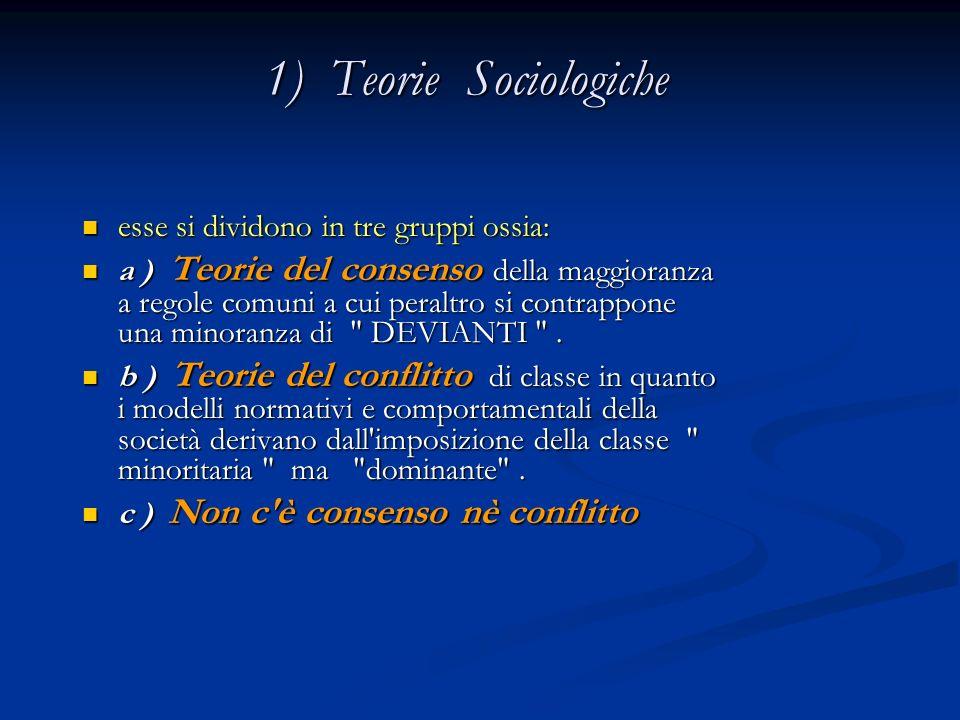 1) Teorie Sociologiche esse si dividono in tre gruppi ossia: