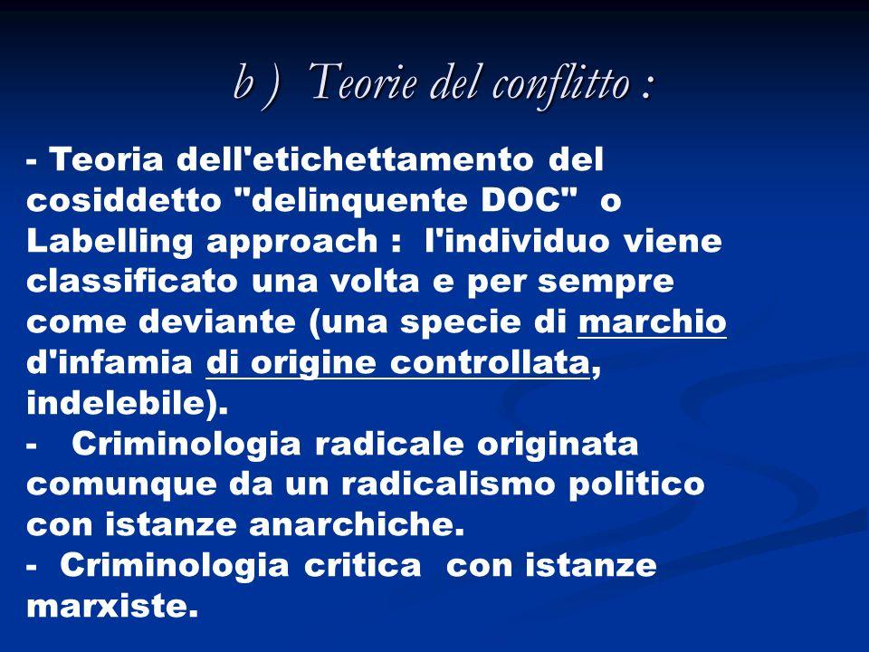 b ) Teorie del conflitto :