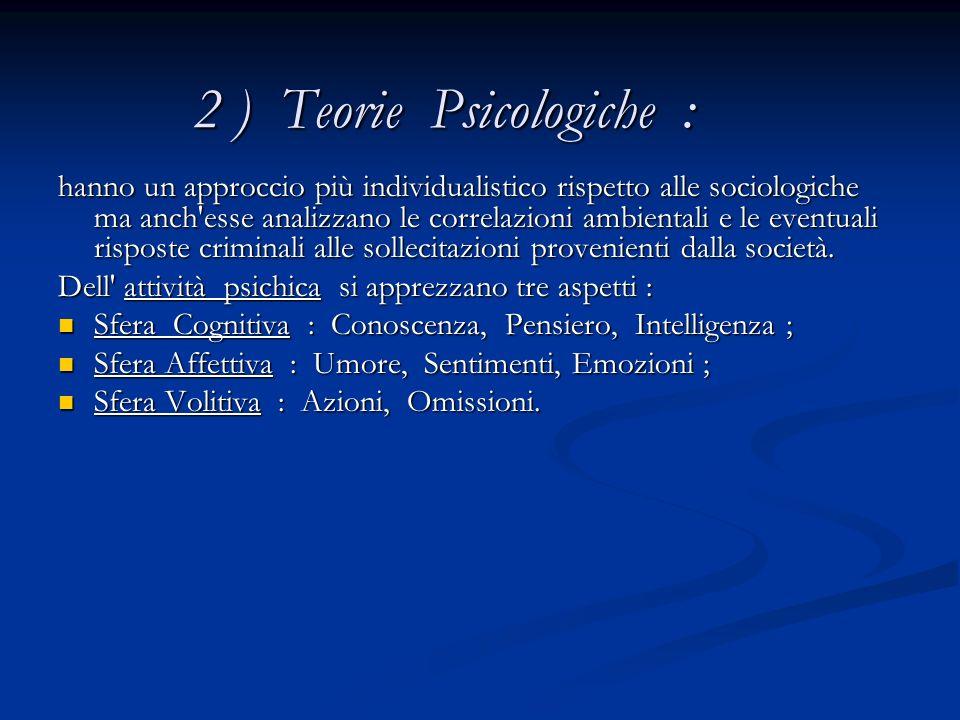 2 ) Teorie Psicologiche :