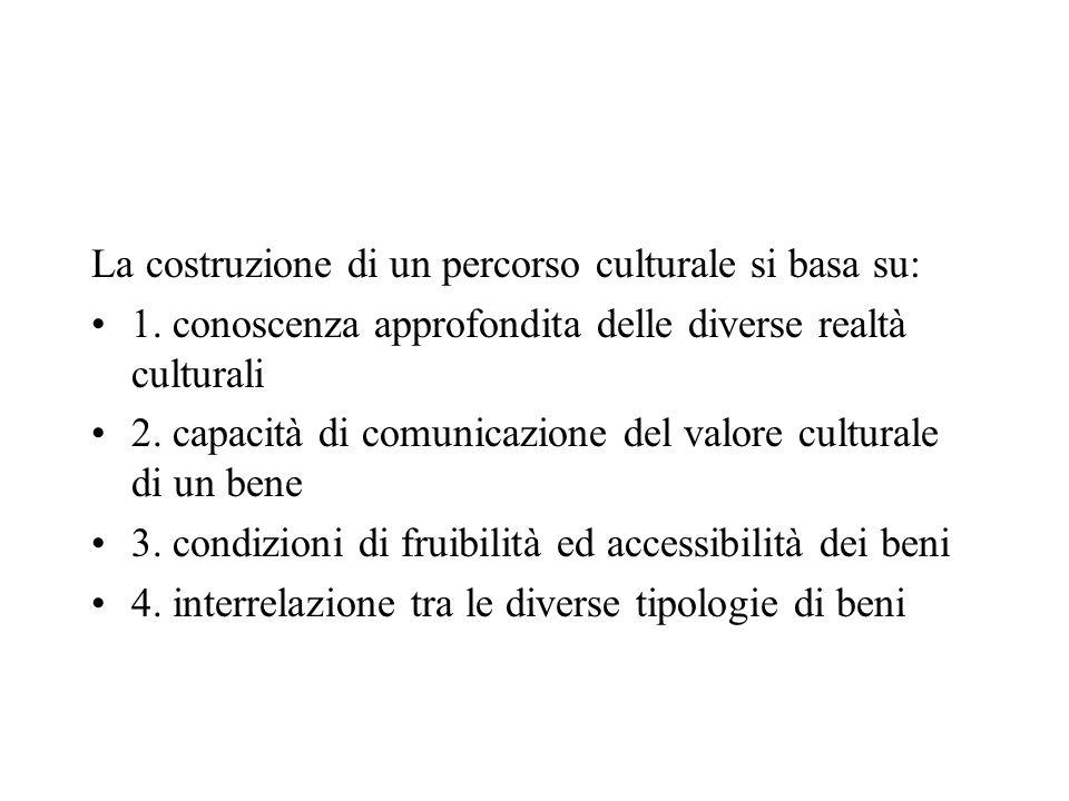 La costruzione di un percorso culturale si basa su: