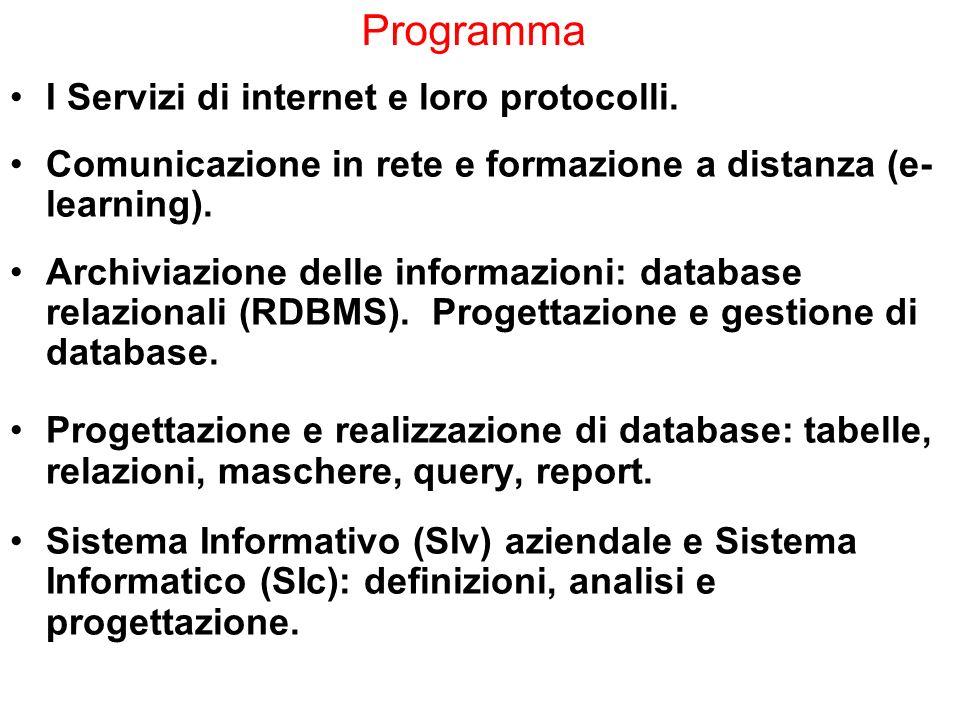Programma I Servizi di internet e loro protocolli.