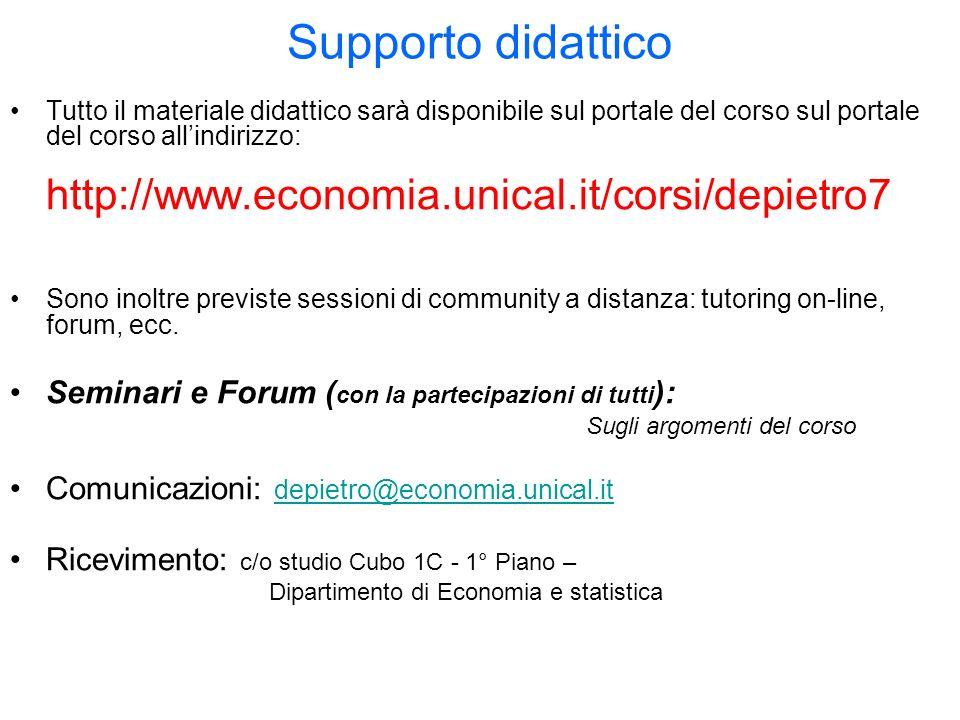 Supporto didattico http://www.economia.unical.it/corsi/depietro7