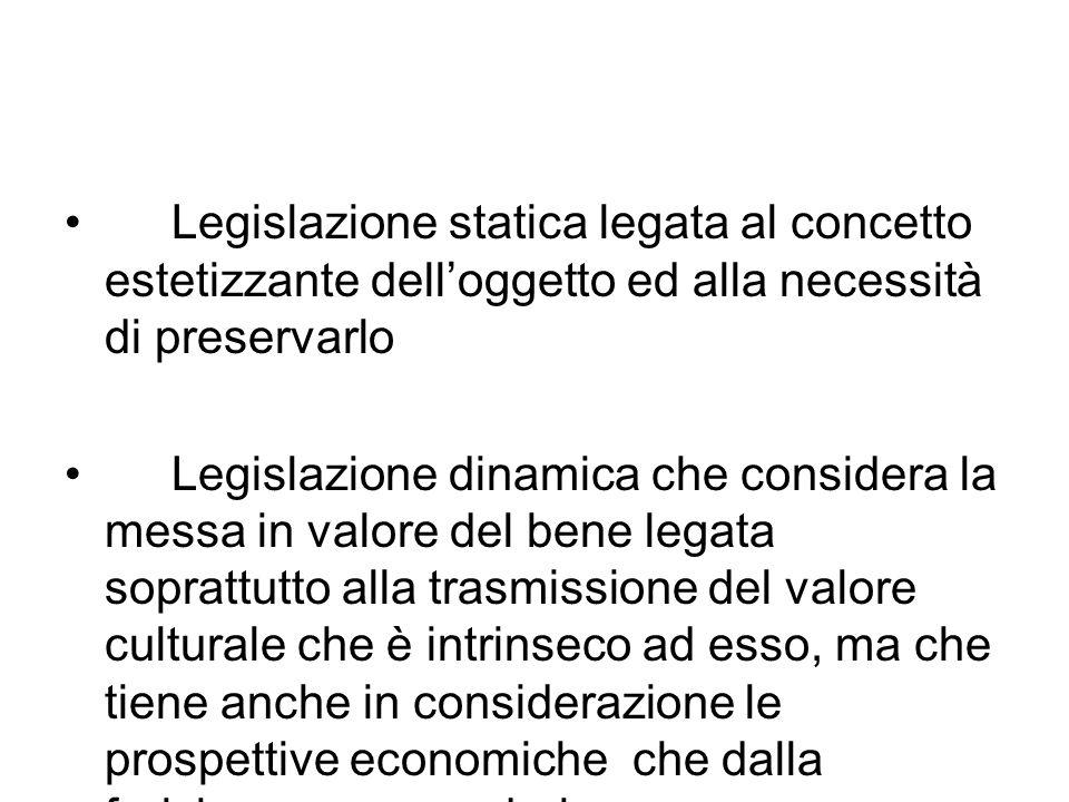 Legislazione statica legata al concetto estetizzante dell'oggetto ed alla necessità di preservarlo