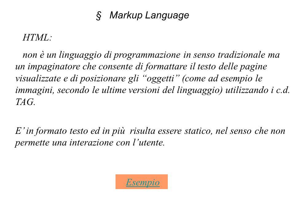 § Markup Language HTML:
