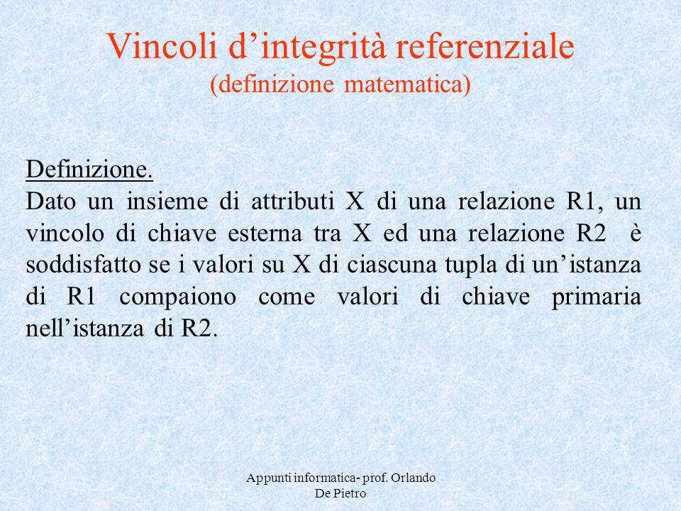 Vincoli d'integrità referenziale (definizione matematica)