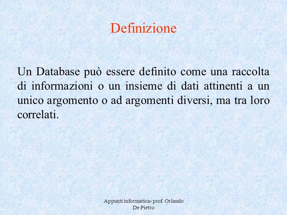 Appunti informatica- prof. Orlando De Pietro