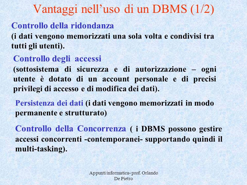 Vantaggi nell'uso di un DBMS (1/2)