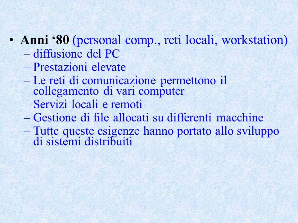 Anni '80 (personal comp., reti locali, workstation)