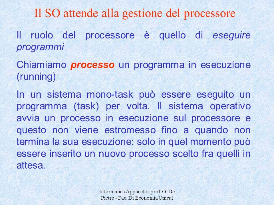 Il SO attende alla gestione del processore