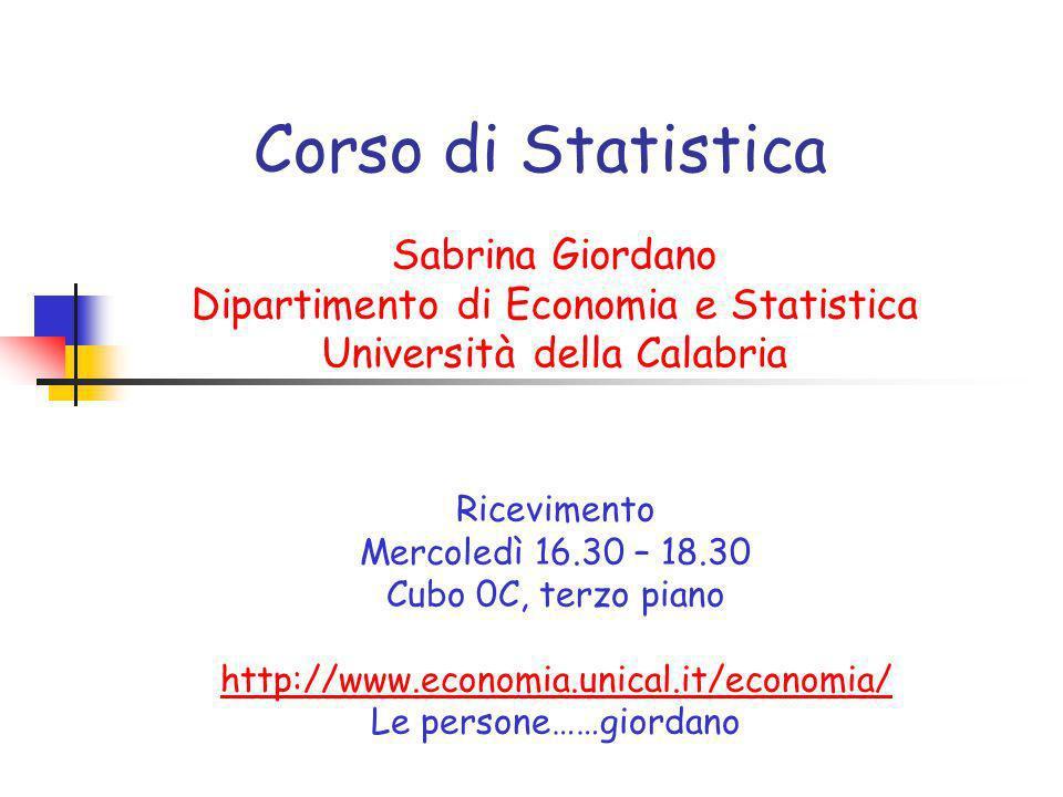Corso di Statistica Sabrina Giordano