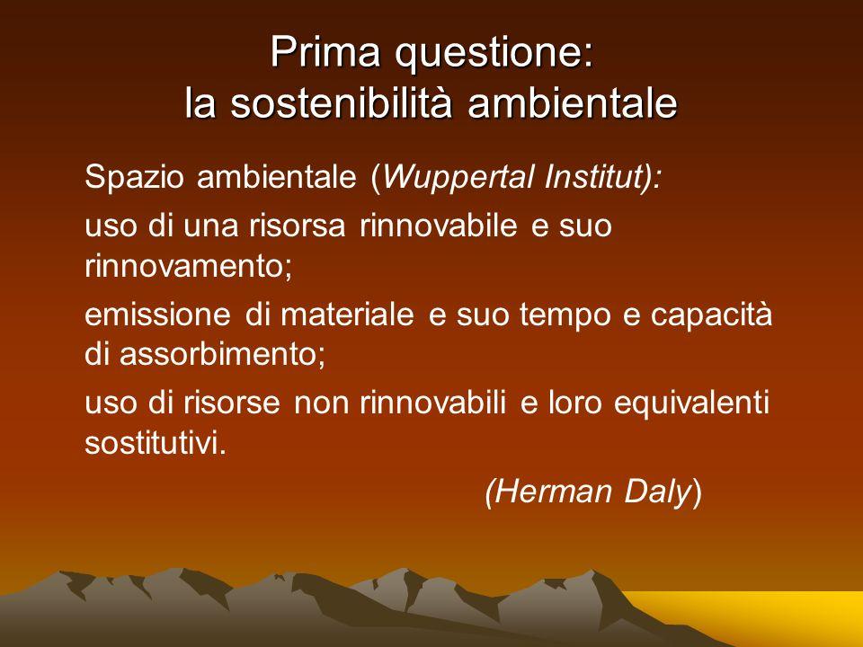 Prima questione: la sostenibilità ambientale