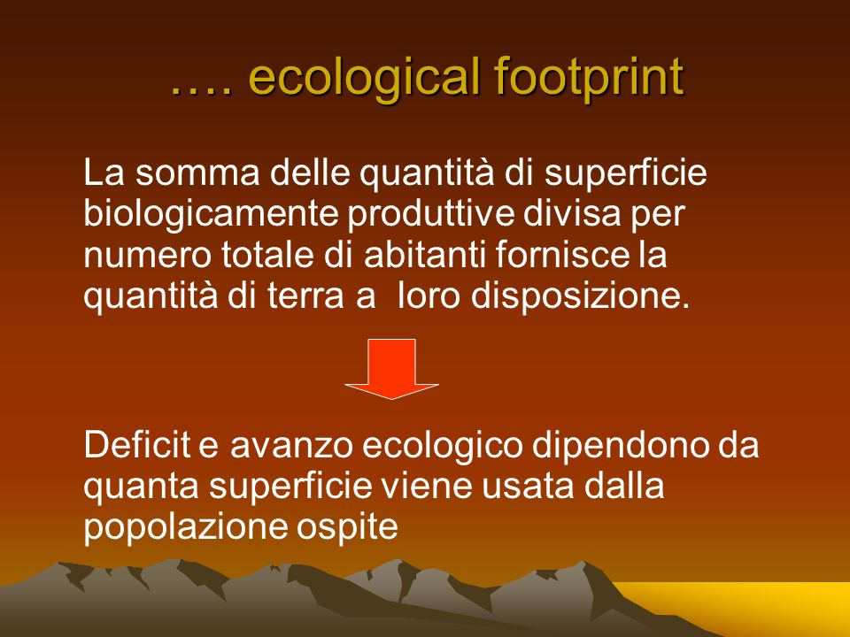 …. ecological footprint