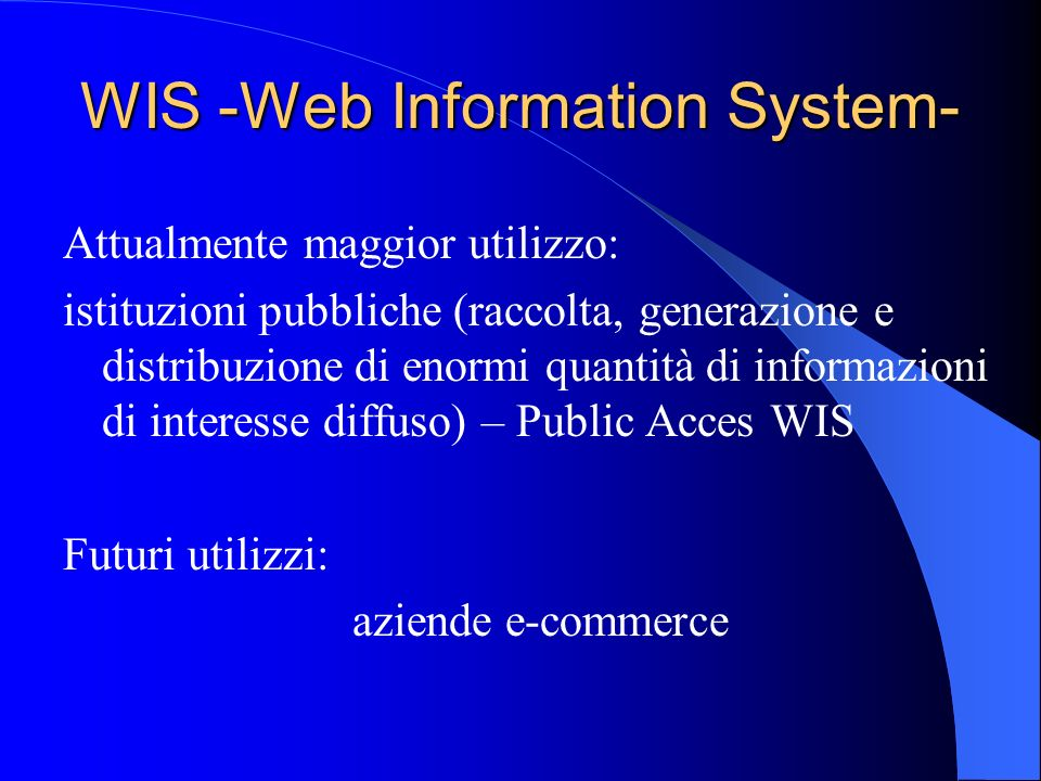 WIS -Web Information System-