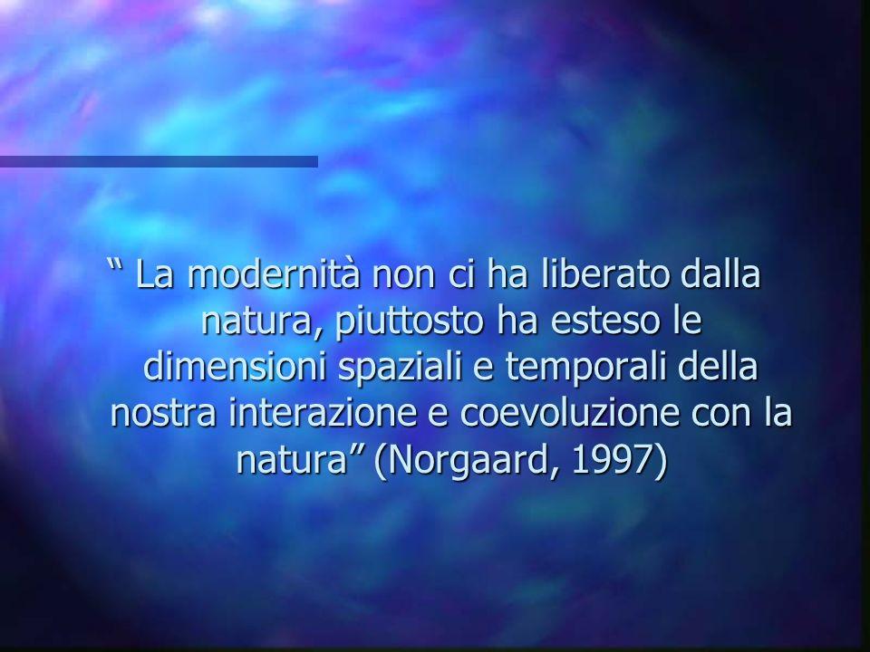 La modernità non ci ha liberato dalla natura, piuttosto ha esteso le dimensioni spaziali e temporali della nostra interazione e coevoluzione con la natura (Norgaard, 1997)