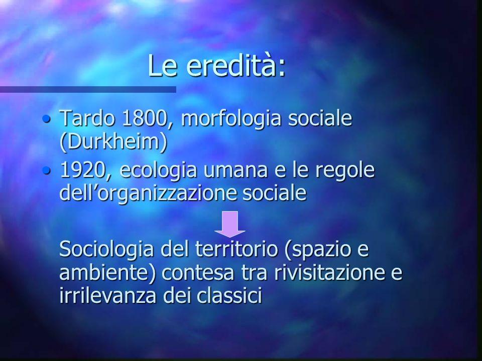 Le eredità: Tardo 1800, morfologia sociale (Durkheim)