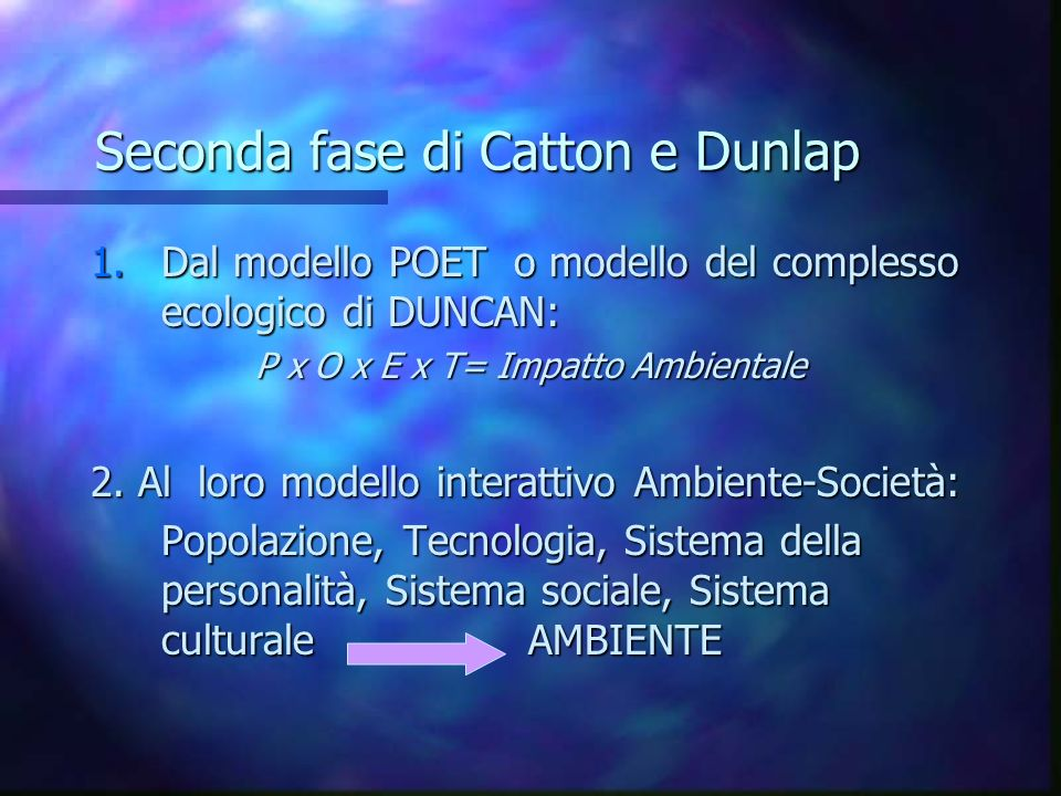 Seconda fase di Catton e Dunlap