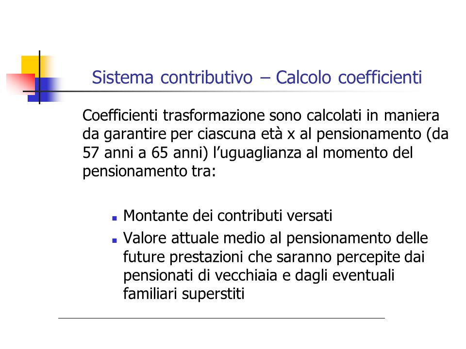 Sistema contributivo – Calcolo coefficienti