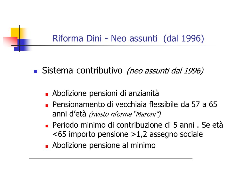 Riforma Dini - Neo assunti (dal 1996)