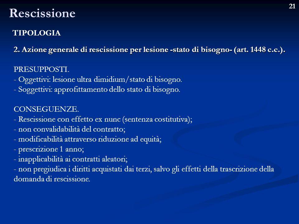 Rescissione TIPOLOGIA
