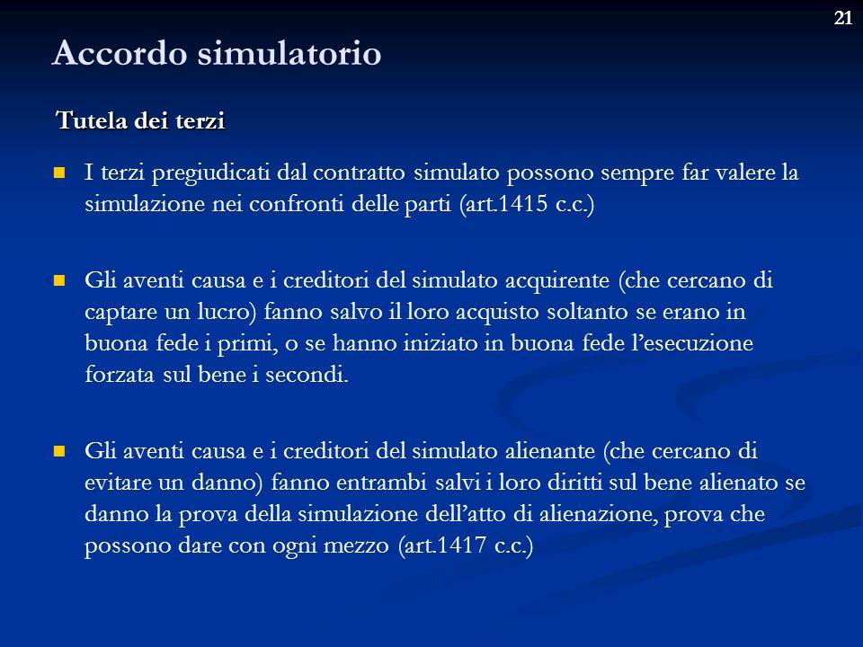 Accordo simulatorio Tutela dei terzi