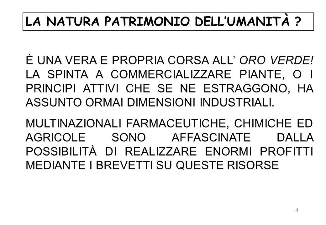 LA NATURA PATRIMONIO DELL'UMANITÀ