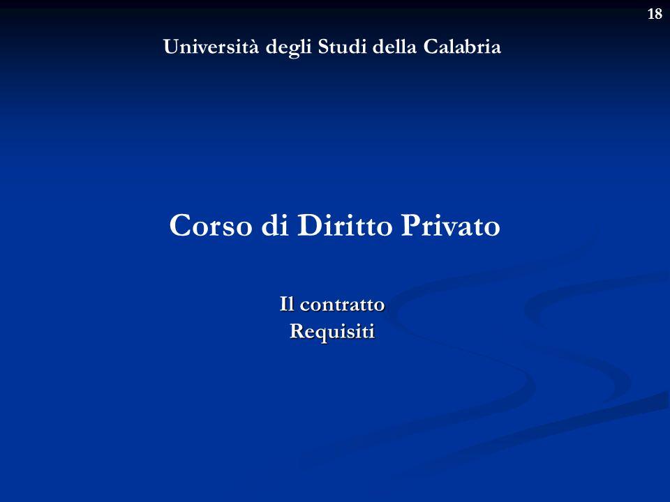 Università degli Studi della Calabria Corso di Diritto Privato