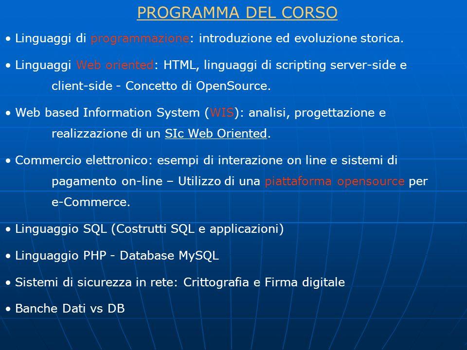 PROGRAMMA DEL CORSO Linguaggi di programmazione: introduzione ed evoluzione storica.