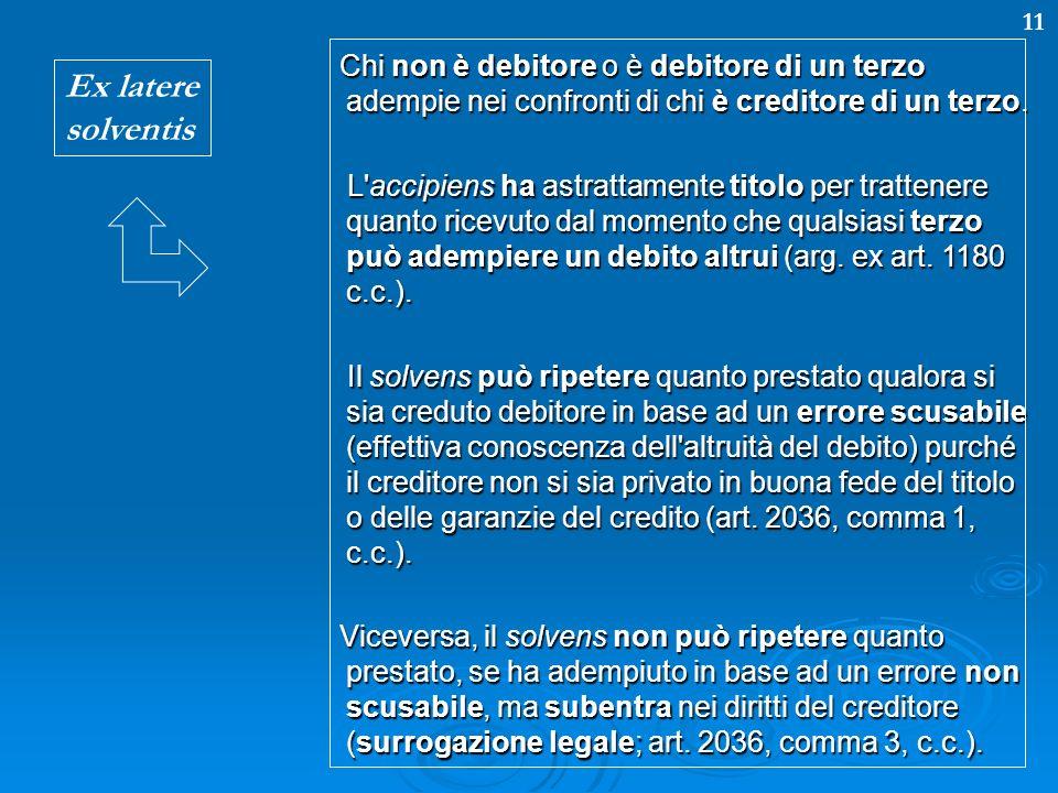 Chi non è debitore o è debitore di un terzo adempie nei confronti di chi è creditore di un terzo.