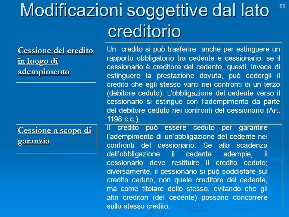 Modificazioni soggettive dal lato creditorio