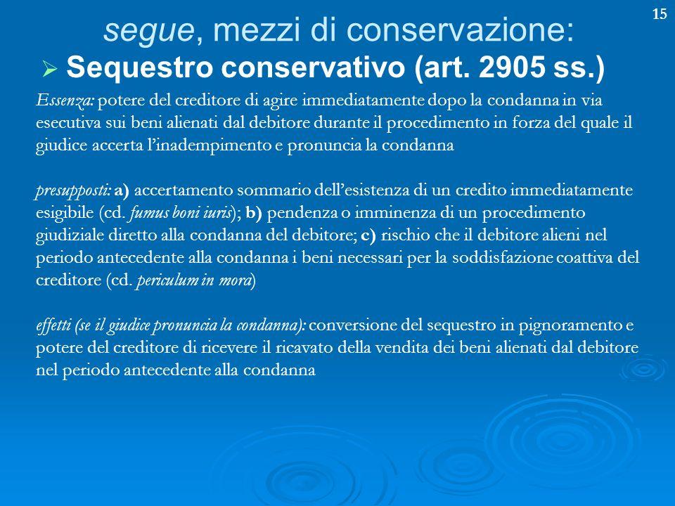 segue, mezzi di conservazione: