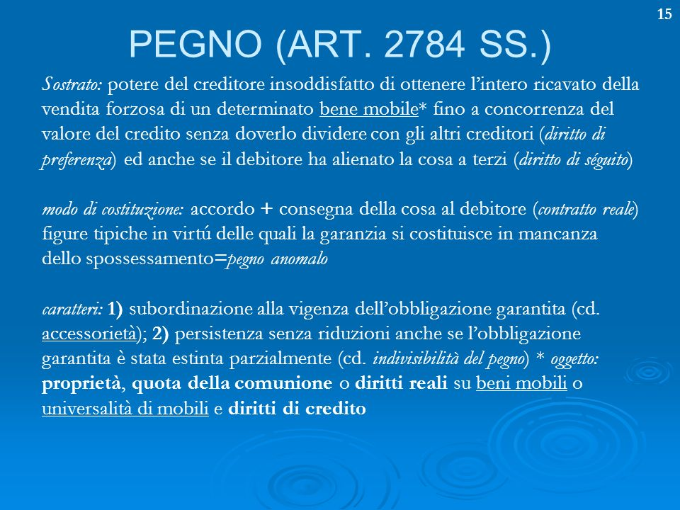 PEGNO (ART. 2784 SS.)