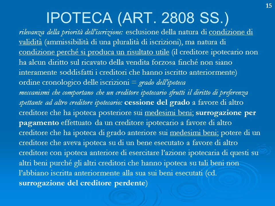 IPOTECA (ART. 2808 SS.)