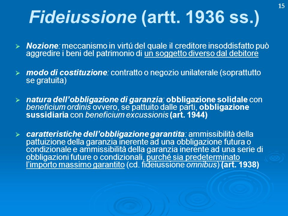 Fideiussione (artt. 1936 ss.)