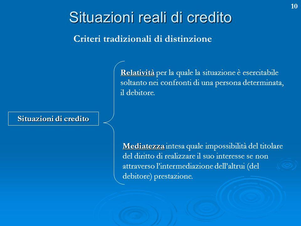 Situazioni reali di credito