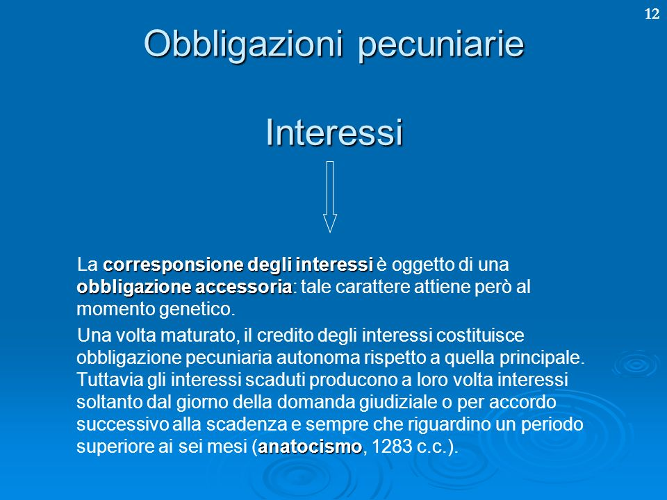 Obbligazioni pecuniarie Interessi