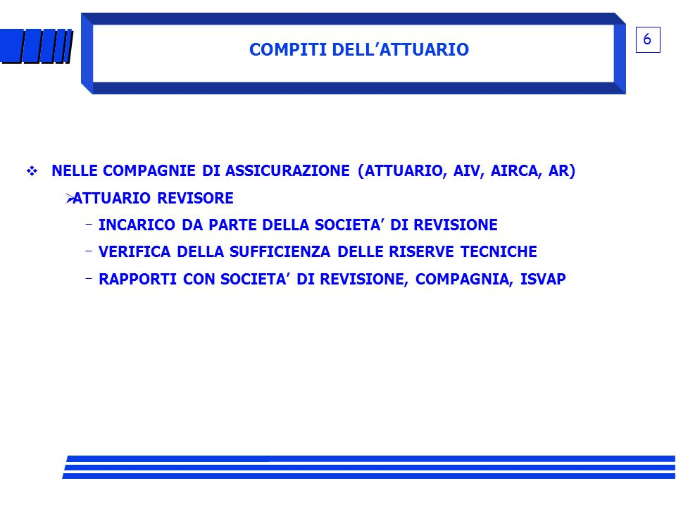 COMPITI DELL'ATTUARIO