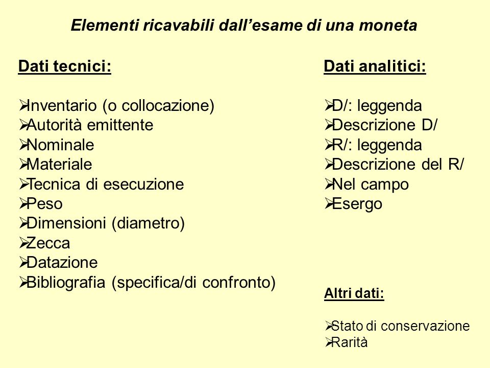 Elementi ricavabili dall'esame di una moneta