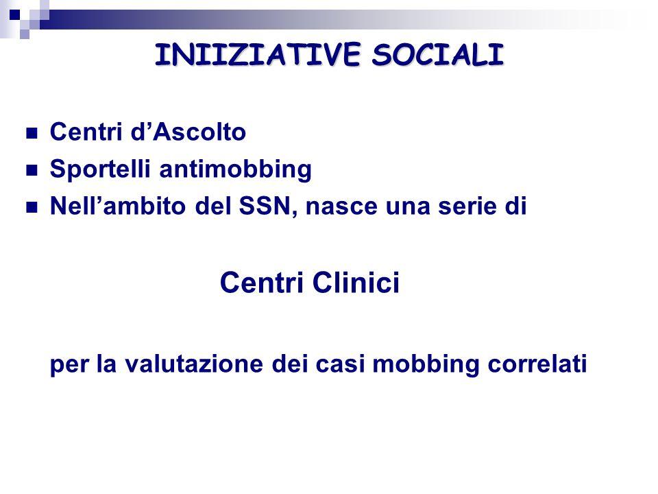 INIIZIATIVE SOCIALI Centri Clinici Centri d'Ascolto