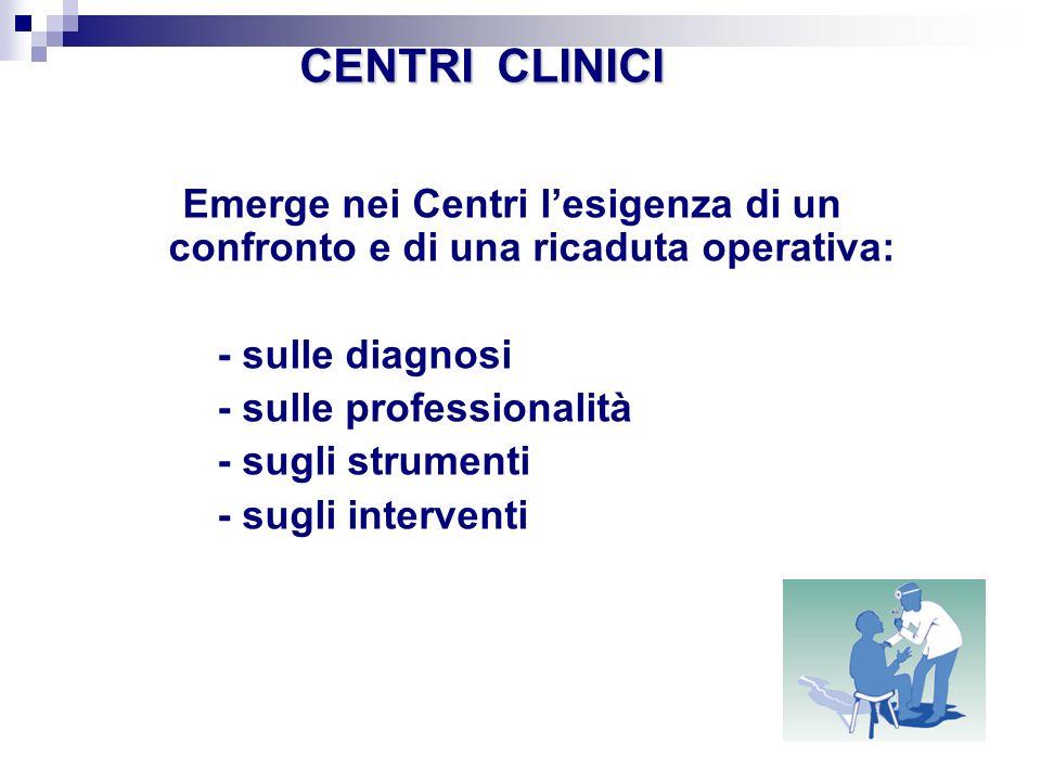 CENTRI CLINICI Emerge nei Centri l'esigenza di un confronto e di una ricaduta operativa: - sulle diagnosi.