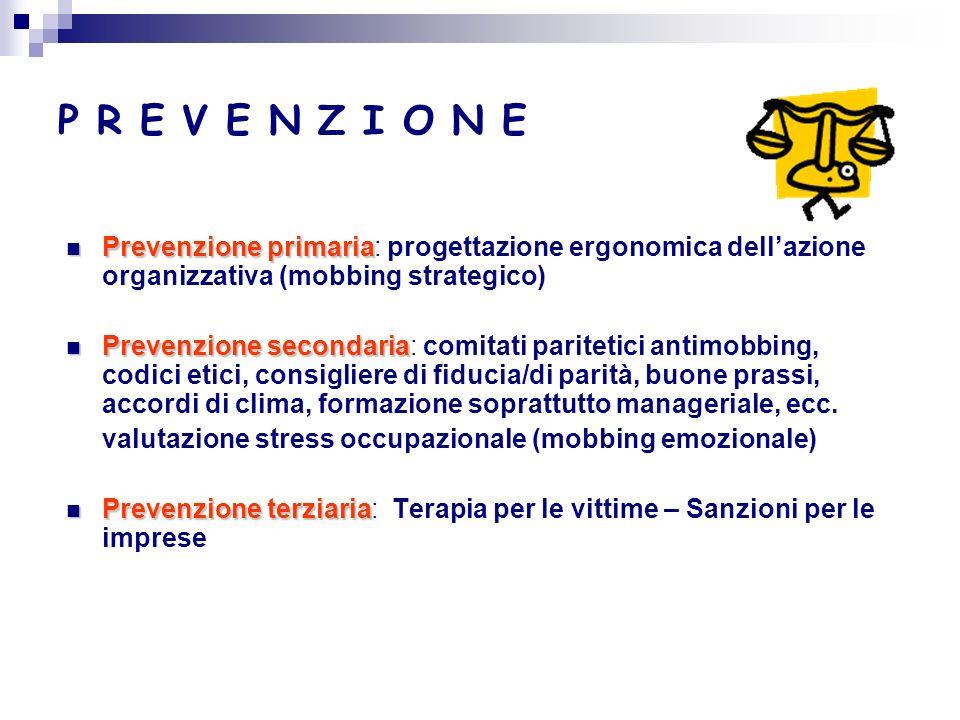 P R E V E N Z I O N E Prevenzione primaria: progettazione ergonomica dell'azione organizzativa (mobbing strategico)