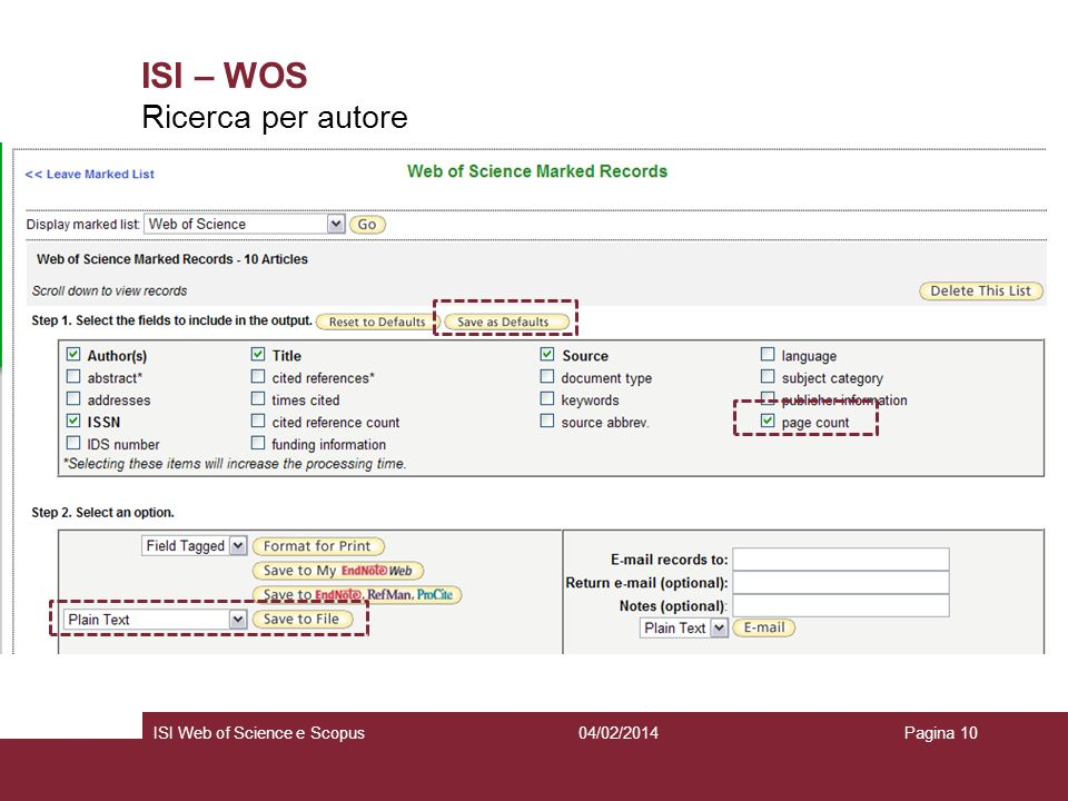 ISI – WOS Ricerca per autore ISI Web of Science e Scopus 27/03/2017