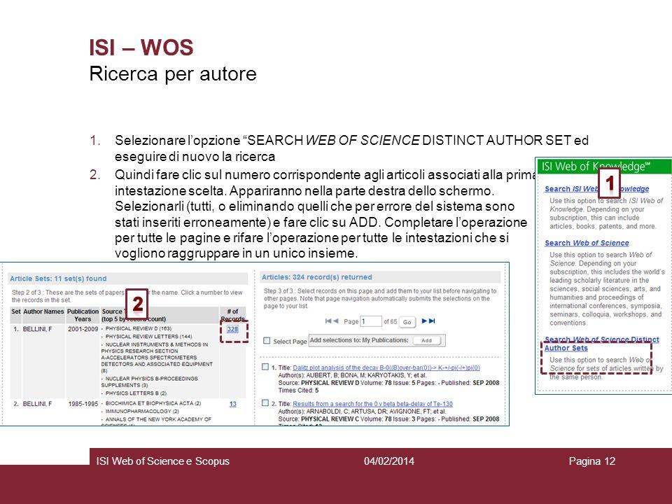 ISI – WOS Ricerca per autore 1 2